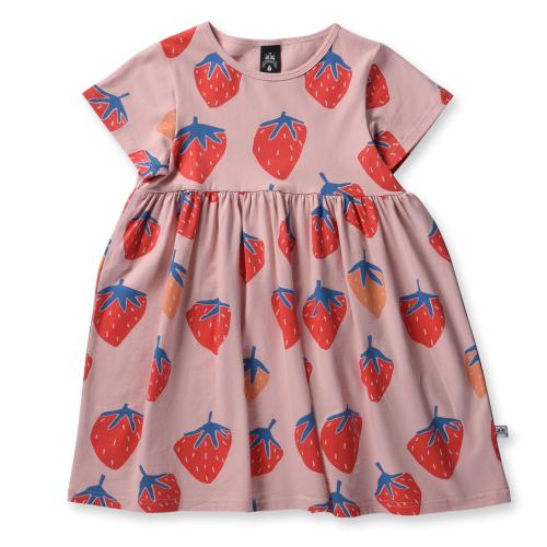 LITTLE HORN – Strawberries Woven Dress