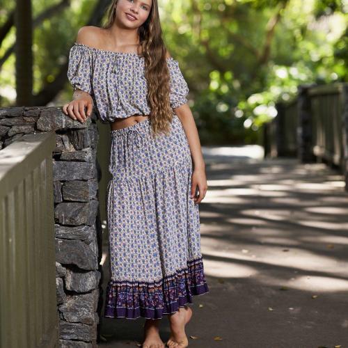 WILD BLOSSOM – Maxi Skirt – Bluebell