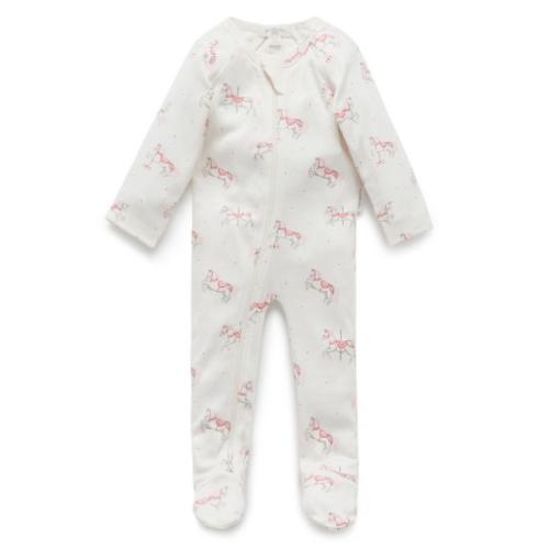 Pure Baby – Printed Zip Growsuit – Prancing Pony