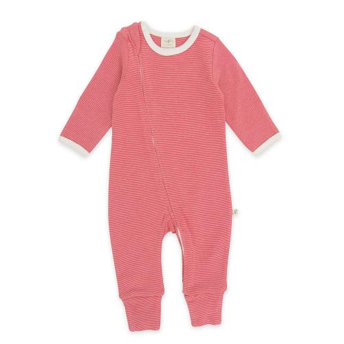 Tiny Twig – Zip Suit – Raspberry Stripes