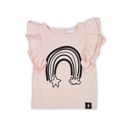 KAPOW – Rainbow Placement Ruffle T-Shirt