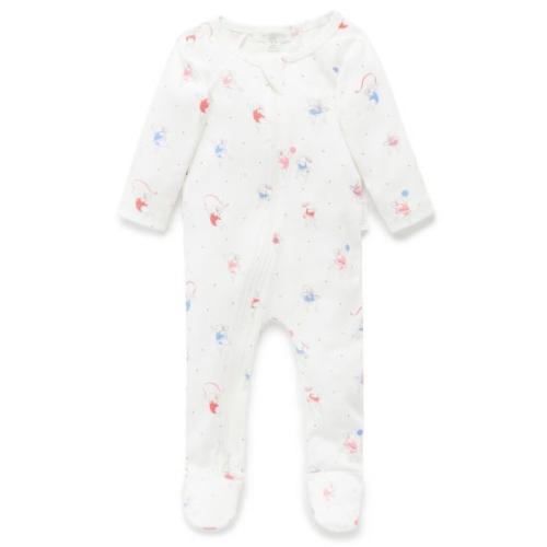 Pure Baby – Zip Growsuit – Bunny Gymnast Print