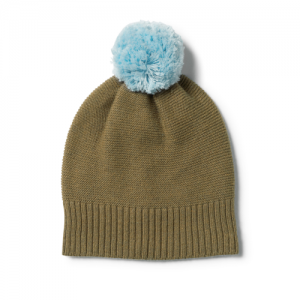 Wilson&Frenchy – Olive Knitted Hat with Pom Pom