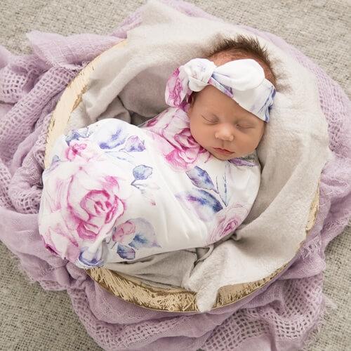 SNUGGLE HUNNY – Lilac Skies I Baby Jersey Wrap & Topknot Set