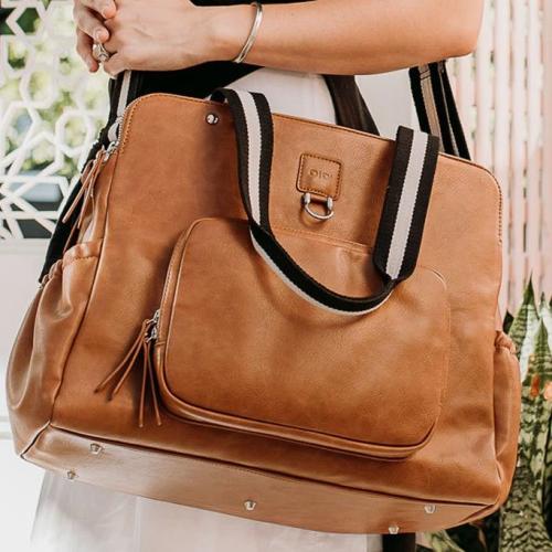OiOi – Faux Leather Tote Triple Compartment Nappy Bag – Tan