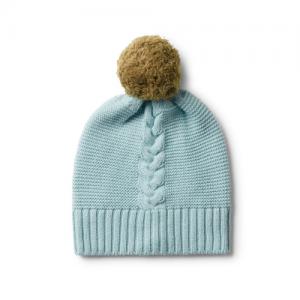 Wilson&Frenchy – Seafoam Cable Knit Hat With Pom Pom