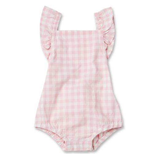 WALNUT – Juniper Elastic Romper Pink Gingham