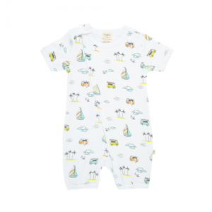 Tiny Twig – S/S Zipsuit – Sail Boats
