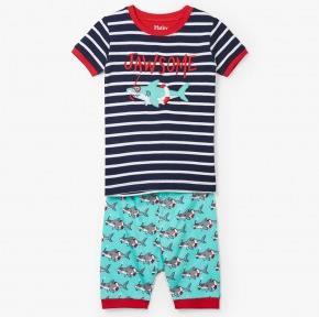 HATLEY – Snorkeling Sharks Applique Organic Cotton Short Pajamas