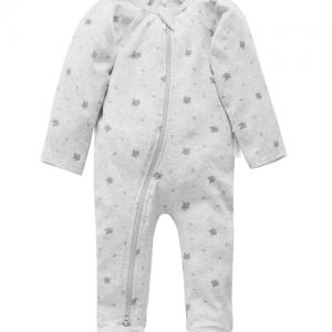 Pure Baby – Zip Growsuit – Pale Grey Leaf