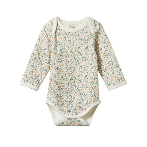 Nature Baby – Long Sleeve Bodysuit – June's Garden Print