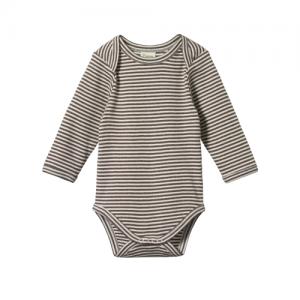 Nature Baby – Long Sleeve Bodysuit – Truffle Marl Stripe