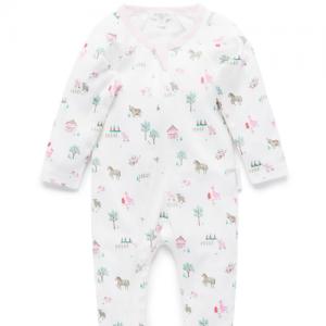 Pure Baby – Printed Growsuit – Pink Farm Yard