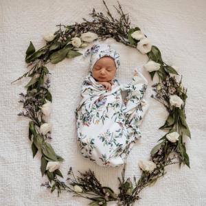Snuggle Hunny – Eucalypt   Baby Jersey Wrap & Beanie Set