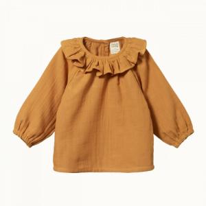 Nature Baby – Muslin ruffle cameron blouse