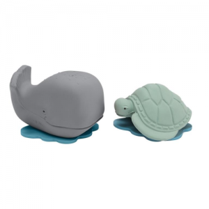 HEVEA – Whale (Grey-Ingolf) and Turtle (Mint – Dagmar) Gift Set – Natural Rubber