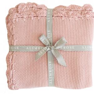 Alimrose – KNIT MINI MOSS STITCH ORGANIC COTTON BABY BLANKET – PINK