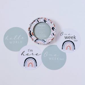 SNUGGLE HUNNY – Rainbow Baby & Sage Reversible Milestone Cards